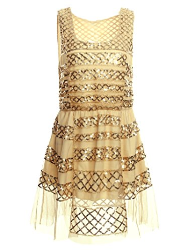 Vijiv Fashion Girls Dress Sequin Mesh Party Wedding Princess Tulle (Flapper Girls Dresses)
