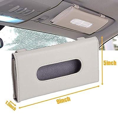2 Pack Car Tissue Holder, Sun Visor Napkin Holder, Tissue Box Holder, PU Leather Tissue Box, Backseat Tissue Purse Case Holder for Car (Black, Beige): Automotive
