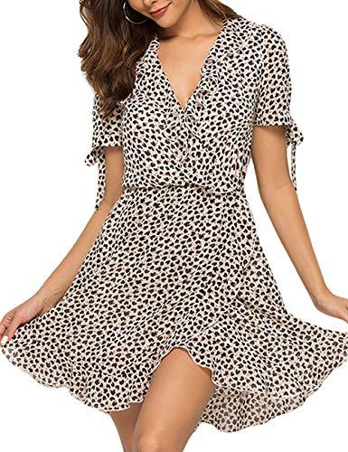 (FUZEELY Women's Sexy Spring Summer V Neck Short Sleeve Elastic Waist Flounce Ruffles Split Swing Chiffon Dress White)