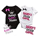 NIHINTE 2 Styles Newborn Baby Girls Jumpsuit Printed Mommy's Little Princess & Daddy's Little Girl Lovely Color Words Little Bow Short Romper Bodysuit Summer Baby Cloth (80, White Black)