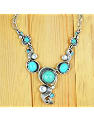 XY Fancy Vintage Look Tibetan Silver Alloy Delicate Exotic Casecade Snail Pendant Round Turquoise Bead Necklace N099