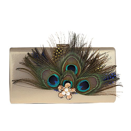 Crystal Clutch with Bag Pearl Evening Peacock Satin Hand Bag Gold Feather TOOKY Dec Party CwxvgRqH4