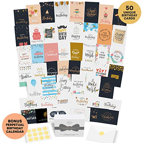 Dessie 50 Unique Birthday Cards Assortment with Generic Birthday Greetings Inside. Suitable For Men, Women and Kids At Home Or At Work. Send As Is Or Personalize. Includes Envelopes and Gold Stickers (Cards Happy Birthday)