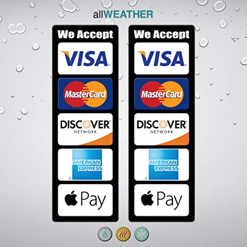 (Pack of 2 pcs) Credit Card Logo Decal Waterproof Vinyl Sticker - We Accept Visa MasterCard Discover AE Apple Pay Store Cashier Counter POS Lable ()