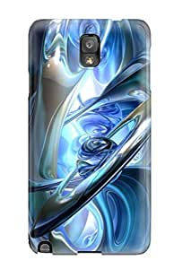 Hot Fashion ICCtKOO790rPHsa Design Case Cover For Galaxy Note 3 Protective Case (artistic Fractals Contrast Apophysis Textures Perspective Colors Shapes Depth Blue Abstract Other)