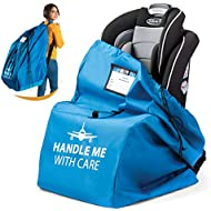 Car Seat Travel Bag for Airplane. Bonus E-Book. Protect from Germs. Safe & Secure. Pouch and Backpack Easy to Carry | Ideal Airplane Gate Check Bag for Car Seats & Booster | Universal Size