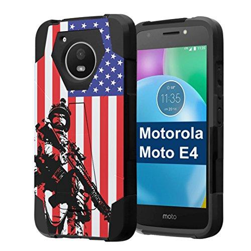 Moto E4 Case, Capsule-Case Hybrid Fusion Dual Layer Shockproof Combat Kickstand Case (Black) for Motorola Moto E4 2017 (Moto E 4th Generation) - (Marine USA Flag)
