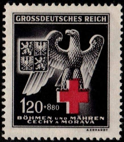 Germany Bohemia Moravia 1943 WWII German Eagle and Red Cross Postage Stamp, Catalog No B21
