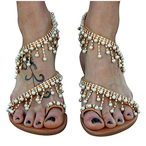 Liyuandian Women Bling Rhinestone Pearl Wedding Dress Thong Flat Sandals (8(M) US, 2-Gold)