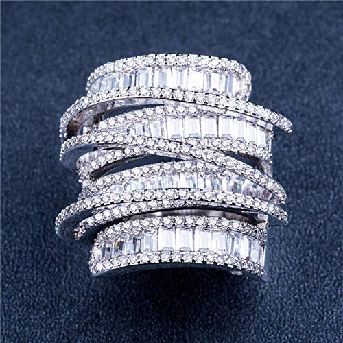 Ring Geometric Line Design Full Diamond Zircon Ring Cocktail Party Accessories (Size : 9) by Unknown (Image #3)