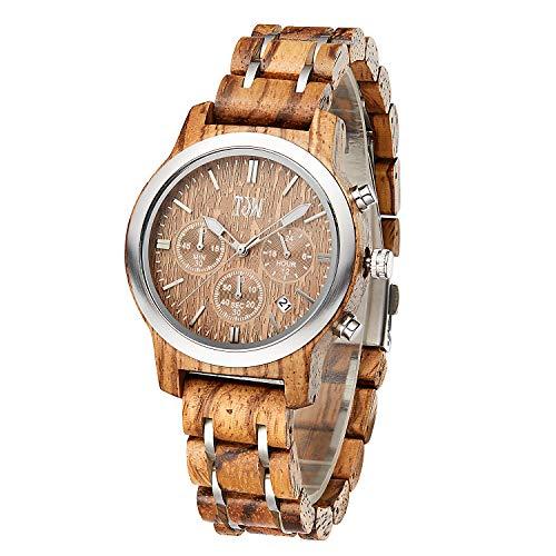 Mens Natural Wooden Watches Women Wooden Wrist Watches Handmade Vintage Casual Wrist Watch Multi-Function Watch