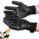 Pet Grooming Gloves, 1 Pair Premium Black Pet Glove - Dog&Cat Hair Remover Tools- Gentle Massage Revolution Tool Supplies for Cats Dogs Horses Pets Perfect Bathing/Grooming/Shedding/Deshedding