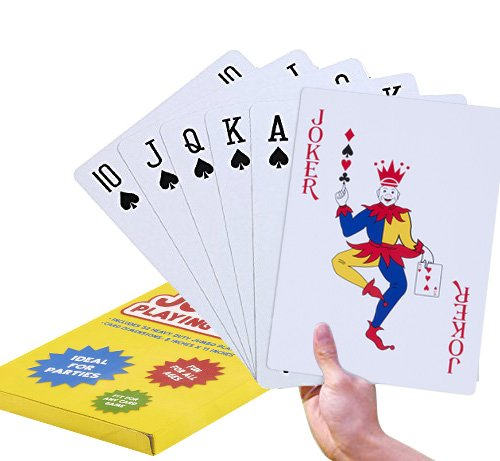 Super Big Giant Jumbo Playing Cards – Full Deck Huge Standard Print Novelty Poker Index Playing Cards - Fun for All Ages! - 8 x 11 - Cards Playing Giant