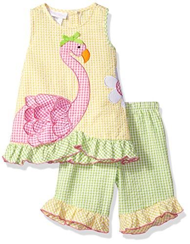 Girls Seersucker Dress - Bonnie Baby Baby Girls' Sleeveless Seersucker Appliqued Playwear Set, Flamingo, 18 Months