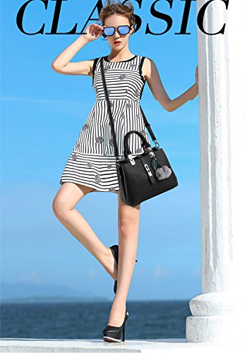 Leather Purses and Handle Women's Handbags Satchel Top Black Bags PU Bag Shoulder Totes Crossbody gHwwfx8qZ7