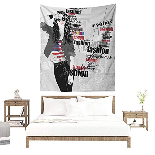 (WilliamsDecor Tapestry Girls Modern Teen Girl with USA Flag T-Shirt Fashion Obsession Beauty in The Street 57W x 74L INCH Suitable for Bedroom Living Room Dormitory)