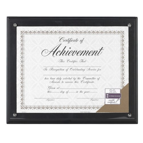 DAX Award Plaque, Wood/Acrylic Frame, Fits Up To 8.5 x 11 Inches, Black (Black Award Plaque)