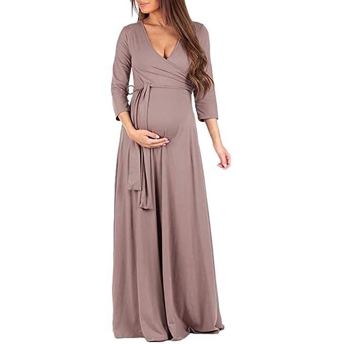 355952cc7 TianBin Ropa Mujer V Cuello Manga 3 4 Embarazada Larga Vestido de Maternidad  Fotografía Vestidos