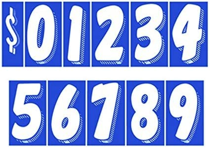 7 1//2 Vinyl Number Decals 13 Dozen Car Lot Windshield Pricing Stickers