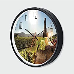 Decorative Wall Clock Silent Non-Ticking,White Wine with Barrel on Famous Vineyard in Chianti Tuscany Agricul,Green Brown Light Blue,12 Inch,Battery Operated Clocks for Kitchen/Bedroom