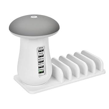 Mioloe Múltiple USB Cargador estación de Carga Stand Organizador con Seta LED de Escritorio de teléfono de la lámpara Titular