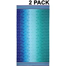 Cotton Craft - 2 Pack - Oversized Jacquard Double Woven Velour Beach Towel 39x68 - Tile Blue Teal - Highly absorbent - 450 grams per square meter 100% Pure Ringspun Cotton