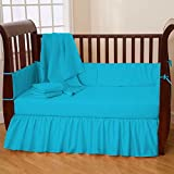 Nursery Baby Cradle Bedding Set 100% Egyptian Cotton 500 TC 3-Piece Set Fitted Sheet, Comforter, Bumper (Turquoise,Cradle)