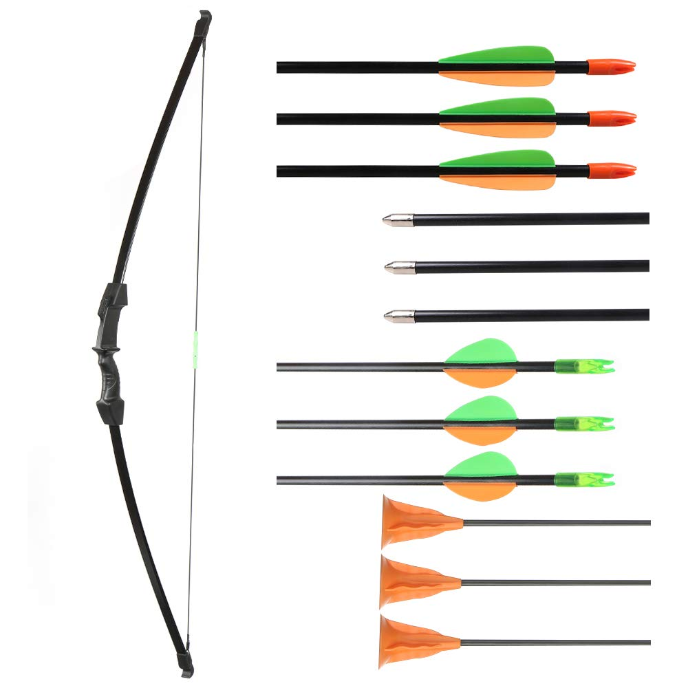 Huntingdoor 45 Archery Youth Bow Set 15LBs Takedown Detachable Bow for LH or RH Bow Kit Shooting Game for Children and Teenagers Toy Gift and Outdoor with 3 Targeting Arrows and 3 Suction Cup Arrows