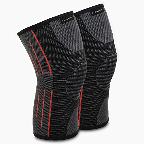 CLASSFIT Knee Compression Sleeves –Knee Brace for Support,Pain Relief & Faster Recovery – Ideal as Running & Squat Knee Sleeves, Crossfit & Powerlifting Knee Wraps