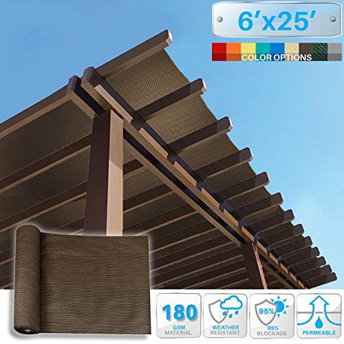 PATIO Paradise 6' x 25' Sunblock Shade Cloth Roll,Brown Sun Shade Fabric 95% UV Resistant Mesh Netting Cover for Outdoor,Backyard,Garden,Plant,Greenhouse,Barn