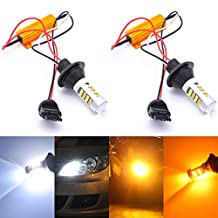 KaTur 3156 3156A 3456 White/Amber Switchback LED Turn Signal Light Canbus Error Free 2835 42SMD 800Lumens 12V LED with 50W 6ohm Load Resistors (Pack of 2)