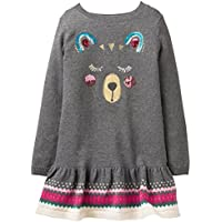 Gymboree Little Girls' Long Sleeve Drop Waist Dress Bear