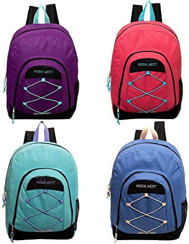 24 Pack - 18 Inch Bulk Backpacks Premium Bungee Sport 4 Assorted Colors - Wholesale Case of Bookbags