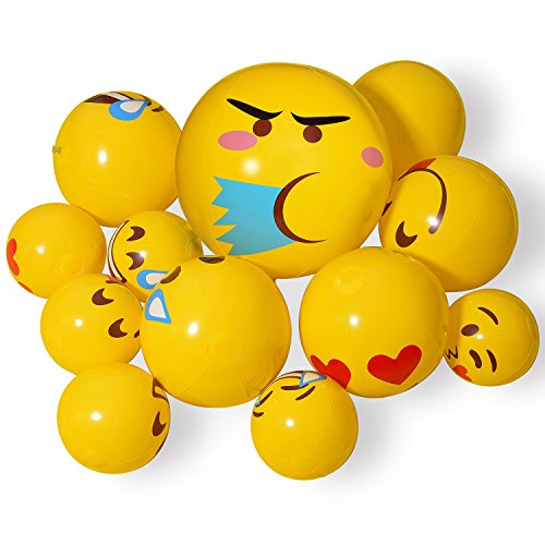 Beach Balls, Inflatable Pool Toys, 12 Pack Emoji Beach Balls