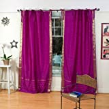 Violet Red Tie Top Sheer Sari Curtain / Drape / Panel – 43W x 84L – Piece For Sale