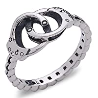 Handcuff Ring with Chain Band in 925 Sterling Silver by Silver Phantom Jewelry
