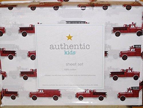 Antique Fire Engine - authentic kids (ALL COTTON) 3-pc FIRE ENGINE / FIRE TRUCK TWIN SIZE Sheet Set
