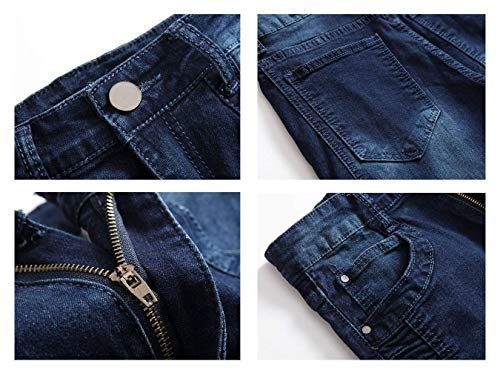 Pantaloni Slim Ragazzo Elasticizzati Dunkelblau2 Normali Jeans Strappati Da Skinny Uomo Fit RqZfwRr