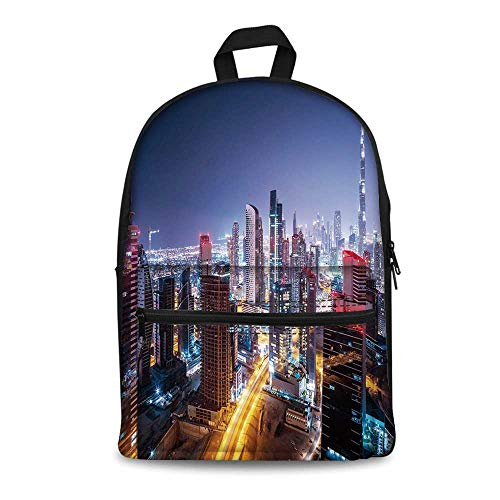 City Stylish Canvas School Bag,Nighttime at Dubai Vivid Display United Arab Emirates Tourist Attraction Travel Theme for School Travel,11.4