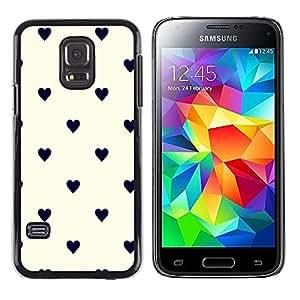 TopCaseStore / la caja del caucho duro de la cubierta de protección de la piel - Pastel White Hearts Black Classy - Samsung Galaxy S5 Mini, SM-G800, NOT S5 REGULAR!