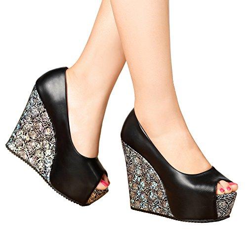 - getmorebeauty Women's Black Dress Shoes Party Wedding Open Toes High Heel (8 B(M) US, Pure Black)