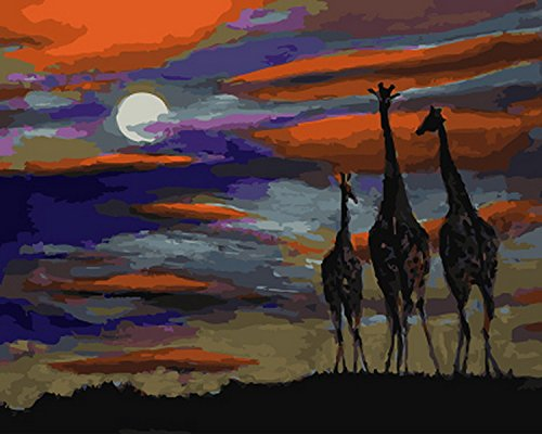 Paint by Number Kits - Giraffes in Sunset 16x20 inch Linen Canvas Paintworks - Digital Oil Painting Canvas Kits for Adults Children Kids Decorations Gifts (with Frame)
