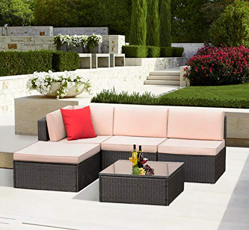 (KaiMeng Outdoor Patio Furniture Lawn Garden Patio Sets All-Weather Wicker PE Ratten Sectional Sofa Sectional Conversation Sets with Seat Cushions and Coffee Table (5 Pieces))
