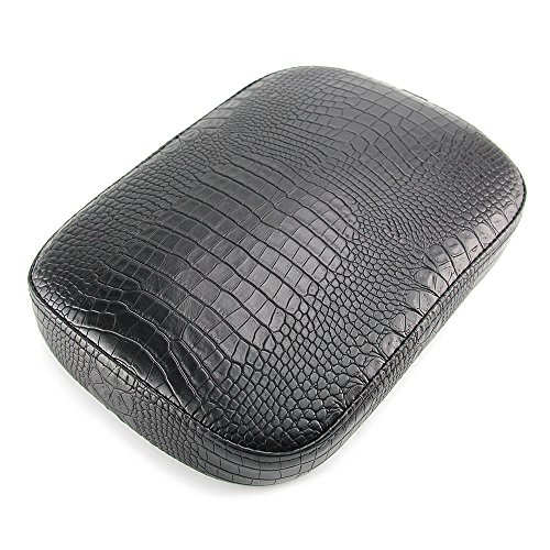 Passenger Pillion - Oumurs Alligator Synthetic Leather Suction Cup Passenger Pillion Pad Seat Rectangle Cushion Pad for Harley Sporster XL 883 1200 Chopper Bobber Dyna Touring (8 Suction Cup Black)