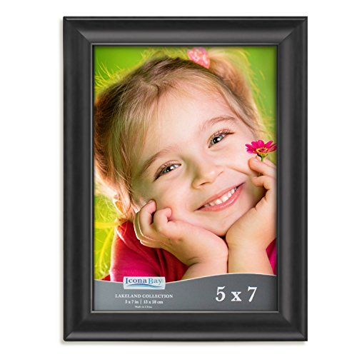 Icona Bay 5x7 Picture Frame (1 Pack, Black), Black Photo Frame 5 x 7, Composite Wood Frame for Walls or Tables, Set of 1 Lakeland Collection