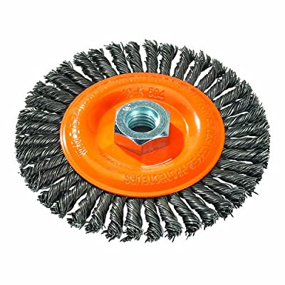 "Walter 13K454 Stringer Bead Wire Wheel Brush, Threaded Hole, Carbon Steel, 4-1/2"" Diameter, 0.020"" Wire Diameter, 5/8""-11 Arbor, 15500 Maximum RPM"