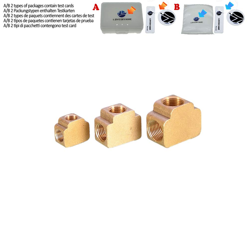 """Tee 3 Ways Brass Pipe Fittings Equal Female Connector 1//8/"""" 1//4/"""" 3//8/"""" BSP Thread for Grease System Hydraulic System,3//8"""