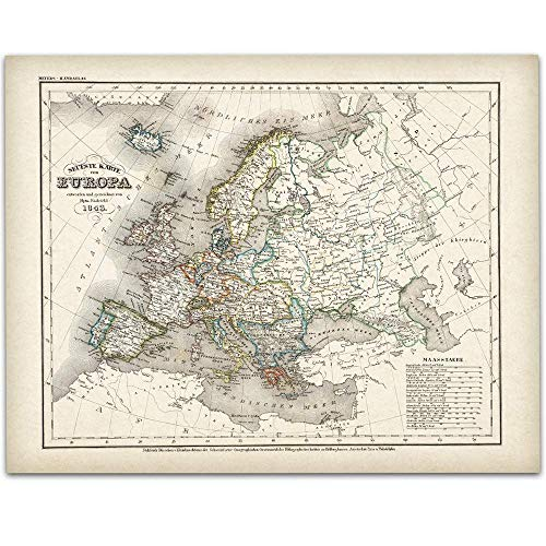 1843 German Map of Europe - 11x14 Unframed Art Print - Great Vintage Home Decor, Also Makes a Great Gift Under $15 ()