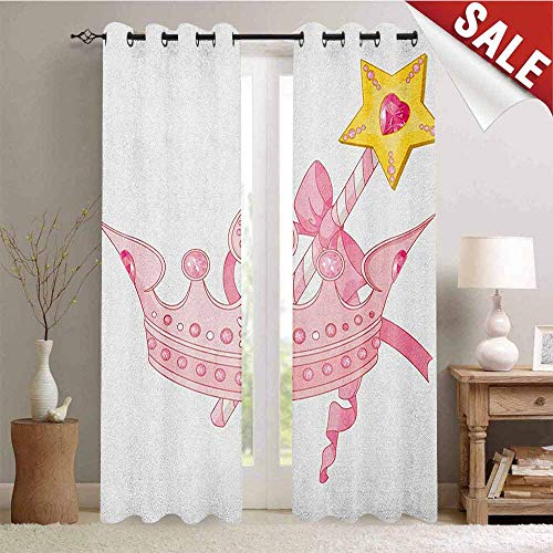 Flyerer Princess, Decor Curtains by, Crown and Magic Wand for True Princess Ribbon Golden Antique Artwork Print, Room Darkening Wide Curtains, W84 x L84 Inch Pale Pink Yellow