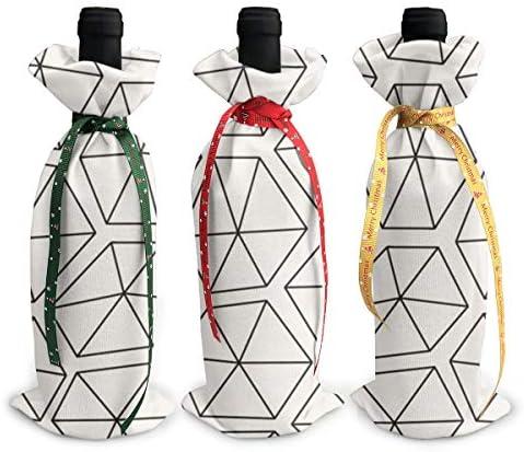 ワインバッグ クリスマスボトルカバー シャンパンワインボトル3本用 幾何柄 ダイヤモンド ワイン収納 ボトル装飾 ギフトバッグ ギフトパッケージ クリスマスデコレーショ ワインボトルワインバッグ ギフトバッグ シャンパンプロップ クリスマス用品 ディナーテーブル デコレーションク